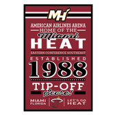 Miami Heat Sign 11x17 Wood Established Design