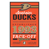 Anaheim Ducks Sign 11x17 Wood Established Design