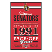 Ottawa Senators Sign 11x17 Wood Established Design