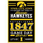 Iowa Hawkeyes Sign 11x17 Wood Established Design