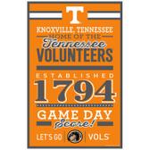 Tennessee Volunteers Sign 11x17 Wood Established Design