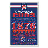 Chicago Cubs Sign 11x17 Wood Established Design