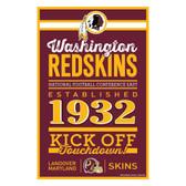Washington Redskins Sign 11x17 Wood Established Design