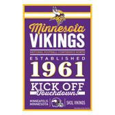 Minnesota Vikings Sign 11x17 Wood Established Design