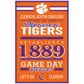 Clemson Tigers Sign 11x17 Wood Established Design