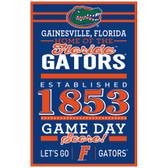 Florida Gators Sign 11x17 Wood Established Design