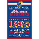 Kansas Jayhawks Sign 11x17 Wood Established Design