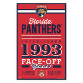 Florida Panthers Sign 11x17 Wood Established Design