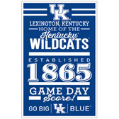 Kentucky Wildcats Sign 11x17 Wood Established Design