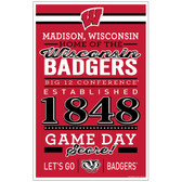 Wisconsin Badgers Sign 11x17 Wood Established Design