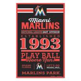 Miami Marlins Sign 11x17 Wood Established Design