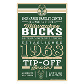 Milwaukee Bucks Sign 11x17 Wood Established Design