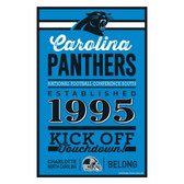 Carolina Panthers Sign 11x17 Wood Established Design
