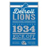 Detroit Lions Sign 11x17 Wood Established Design