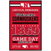 Nebraska Cornhuskers Sign 11x17 Wood Established Design