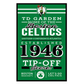 Boston Celtics Sign 11x17 Wood Established Design
