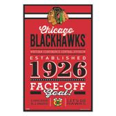Chicago Blackhawks Sign 11x17 Wood Established Design