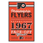 Philadelphia Flyers Sign 11x17 Wood Established Design