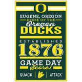 Oregon Ducks Sign 11x17 Wood Established Design