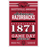 Arkansas Razorbacks Sign 11x17 Wood Established Design