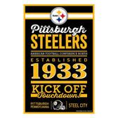 Pittsburgh Steelers Sign 11x17 Wood Established Design