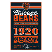 Chicago Bears Sign 11x17 Wood Established Design