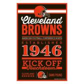 Cleveland Browns Sign 11x17 Wood Established Design