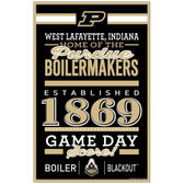 Purdue Boilermakers Sign 11x17 Wood Established Design