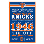 New York Knicks Sign 11x17 Wood Established Design