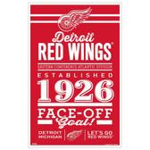 Detroit Red Wings Sign 11x17 Wood Established Design