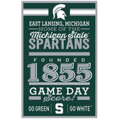 Michigan State Spartans Sign 11x17 Wood Established Design