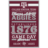 Texas A&M Aggies Sign 11x17 Wood Established Design