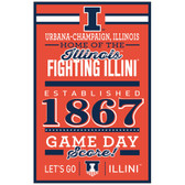 Illinois Fighting Illini Sign 11x17 Wood Established Design