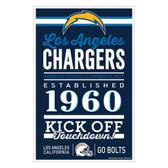 Los Angeles Chargers Sign 11x17 Wood Established Design