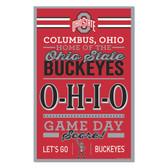 Ohio State Buckeyes Sign 11x17 Wood Established Design