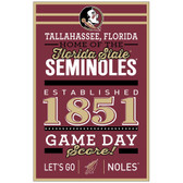Florida State Seminoles Sign 11x17 Wood Established Design