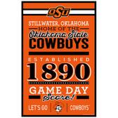 Oklahoma State Cowboys Sign 11x17 Wood Established Design