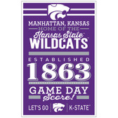 Kansas State Wildcats Sign 11x17 Wood Established Design