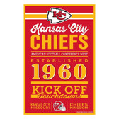 Kansas City Chiefs Sign 11x17 Wood Established Design
