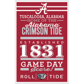 Alabama Crimson Tide Sign 11x17 Wood Established Design
