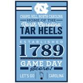 North Carolina Tar Heels Sign 11x17 Wood Established Design