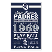 San Diego Padres Sign 11x17 Wood Established Design