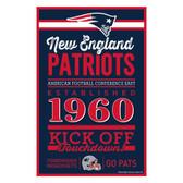 New England Patriots Sign 11x17 Wood Established Design