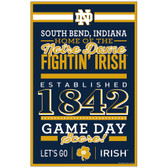 Notre Dame Fighting Irish Sign 11x17 Wood Established Design