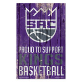 Sacramento Kings Sign 11x17 Wood Proud to Support Design