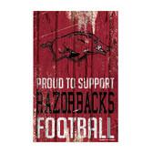 Arkansas Razorbacks Sign 11x17 Wood Proud to Support Design