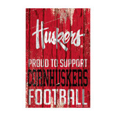 Nebraska Cornhuskers Sign 11x17 Wood Proud to Support Design