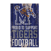 Memphis Tigers Sign 11x17 Wood Proud to Support Design