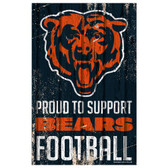 Chicago Bears Sign 11x17 Wood Proud to Support Design
