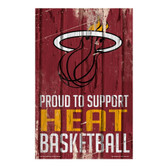 Miami Heat Sign 11x17 Wood Proud to Support Design